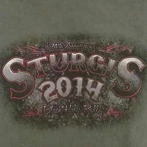 Sturgis 2014 Olive Green Rally Shirt size large